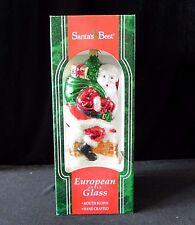 Santa's Best 1996 EUROPEAN STYLE GLASS SANTA & CHIMNEY ORNAMENT Toy Sack
