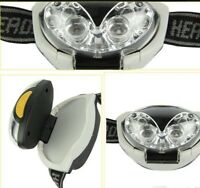 Headtorch With 4 White Leds And 2 Red Night Vision Cycling /Camping + Batteries