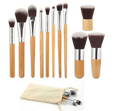 Kit HOT Makeup Brush Set 11Pcs Blush Handle Foundation Cosmetic Bamboo Brushes