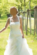 Brautkleid 34 Ivory Elfenbein Hochzeitskleid Neckholder Träger Reifrock A-Linie