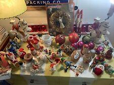 Vintage Christmas ornament lot Shiny Brite Jewel Flocked Topper Nesting Dolls