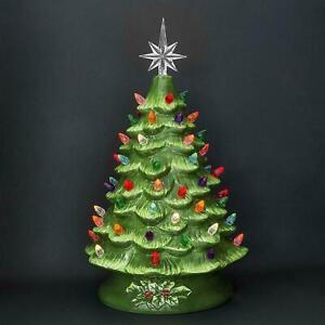 "Vintage 15"" Retro Nostalgic Ceramic Green Glaze Lighted Table Top Christmas Tree"
