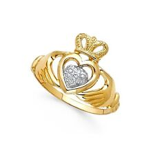 Claddagh Heart Ring 14k Yellow & White Gold Irish Style Love Band Polished Fancy