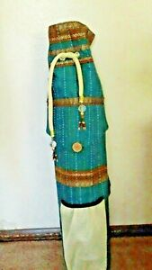 Yoga Mat Carrier Exercise Bag with Shoulder Strap Green and Gold