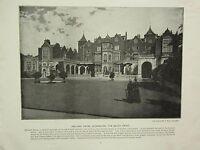 1896 VICTORIAN LONDON PRINT + TEXT ~ HOLLAND HOUSE KENSINGTON SOUTH FRONT