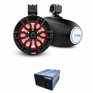 """DS18 Hydro 8"""" 375 Watts 4 Ohm Marine Towers with Integrated RBG Lights Black"""