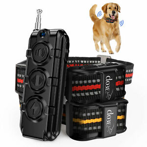 Rechargeable Pet Dog Training Collar Electric Shock Remote Control For 1 2 Dogs