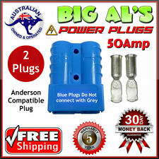 2 X BLUE 50Amp DC Anderson Style Plug 12v 24v Power Battery Charger Connector