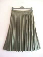 M&S Size 10 Olive Green Sunray Pleated Stretch Jersey Elasticated MIDI Skirt