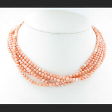 GORGEOUS 5 Strand .925 Sterling Silver Natural Pink Italian Coral Bead Necklace