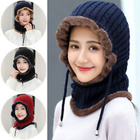 Fashion Winter Knitting Neck Warmer Scarf Knitted Hats Thick Casual Ski Caps Hat