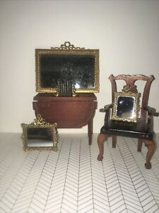 Antique Vintage German Soft Metal Dollhouse 3 Mirrors Plus Books And Bookends