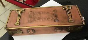 ANTIQUE VINTAGE ARTS & CRAFTS JUGENDSTIL HANDMADE COPPER BRASS GLOVE BOX LOVELY