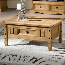 Rustic Coffee Table Country Wood Furniture Room Side End Unit Rectangle Drawer