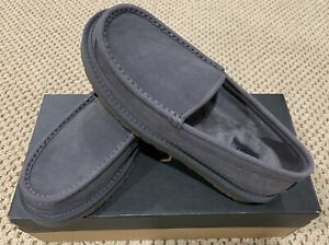 New with box Men UGG Dex Moc Toe Water Resistant Leather Slipper Color Dgry 8.5