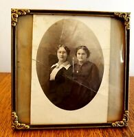 "Vintage 1940s Convex bubble glass square picture frame 5.25""x5.25"" frame size"