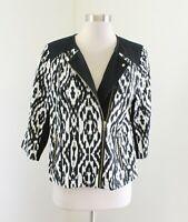 NWT $129 Chico's Black White Ikat Asymmetrical Zip Moto Jacket Chicos Size 0