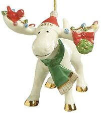 Lenox Marcel The Moose Under The Mistletoe Ornament 2019 With Bird New