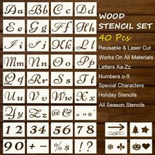 40Pcs Stencils Letter and Number for Painting on Wood Large Alphabet Calligraphy
