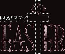Happy Easter Cross Christian Rhinestone Bling Transfer Hot Fix Iron On