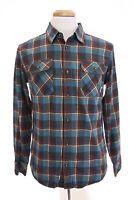 Burton Double Goods Mens Brighton Flannel Button Down Shirt Plaid Blue Sz M