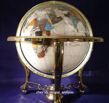 "Finest collector model, 21"" Tall Pure Pearl Ocean Gemstone Globe W Gold Stand"
