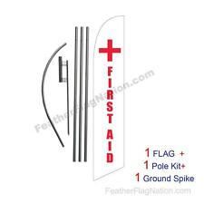 First Aid + 15ft Feather Banner Swooper Flag Kit with pole+spike