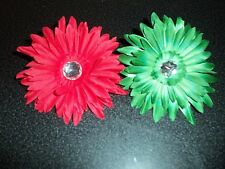 wholesale lot 12 GERBER DAISY flower craft HAIR tutu CHRISTMAS 6 red 6 green NEW