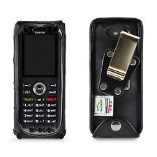 Kyocera DuraTR E4750 Phone Black Leather Fitted Case Metal Removable Belt Clip