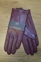 M&S Collection Ladies Leather Gloves Magenta Size L