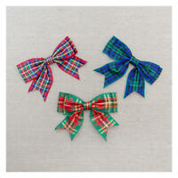 Tartan Christmas Double bows, 25mm wide ribbon, choice of 3 colours per ONE BOW
