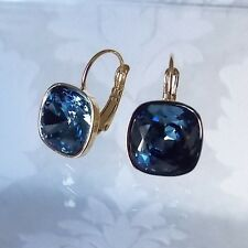 Denim Blue Golden Leverback Drop Earrings w/ Cushion Cut Swarovski Crystal 4470