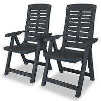 vidaXL 2x Reclining Garden Chairs Plastic Anthracite Outdoor Dining Chair