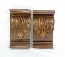 "5"" Pair of French Antique Hand Carved Oak Walnut Corbels Salvage Trim"