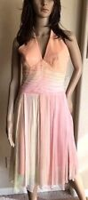 LAUNDRY PEACH & PALE YELLOW HALTER SILK CHIFFON DRESS sz 4  mid-calf