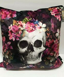 "Cynthia Rowley Curious Halloween BEAUTIFUL Skull Feather Throw Pillow 20""x20"""
