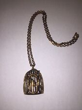 Custom Bronze Colored Bird Cage Necklace With Birds