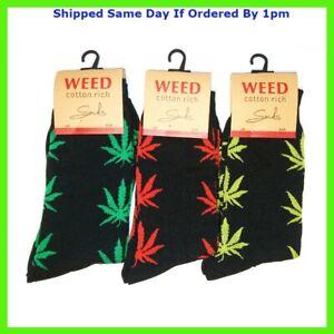 6 Pairs Men's Weed Leaf Print Socks Cannabis Ganja Marijuana Adults Fashion 6-11