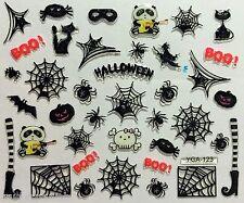 Halloween Decoración Nail Art Pegatinas Cráneo Araña webs Gato Calabaza Boo (Y123)