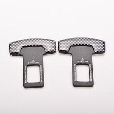 Car Carbon Fiber Safety Seat Belt Buckle Alarm Stopper Clip Clamp 2Pcs