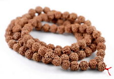 8mm Natural Rudraksha Bodhi Seed Mala Meditation 108 Beads Red Brown Round 35""