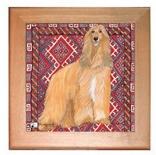 """Afghan Hound Dog Kitchen Ceramic Trivet Framed in Pine 8"""" x 8"""""""
