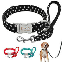 Small Large Dogs Nylon Collar Dog Lead Personalised Heavy Duty Quick fit Buckle