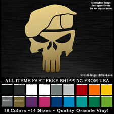 Punisher with Beret Army Solider Patriot Marine Special Forces USA Sticker Decal