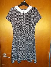 M&S Collared S/Sleeved Textured Spot Skater Dress 13-14yr 164cm Black Mix BNWT