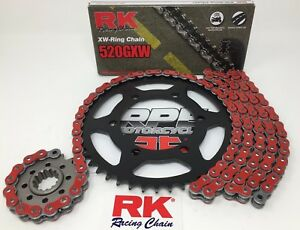 Red Ducati Monster 620 Dark 2003 RK GXW X-Ring Chain and Sprockets Kit M620