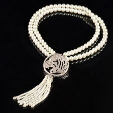 Long Pearl Tassel Necklace With Pave' Tiger Pendant