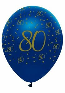 6 Navy & Gold Geode Age 80/80th  Birthday Party Latex Balloons