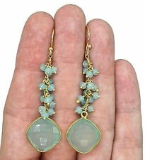 Dangly Gemstone Earrings, Sterling Silver, 14K gold Plated, Variety of Gemstones