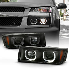 SINISTER BLACK SMOKE LED Halo Projector Headlight Lamp For 02-06 Chevy Avalanche